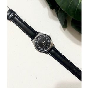 Urban Outfitters Classic Faux Leather Black Watch